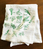 Fresh green herbs, drawn, labeled + screenprinted onto washable lint-free floursack cotton kitchen towels.