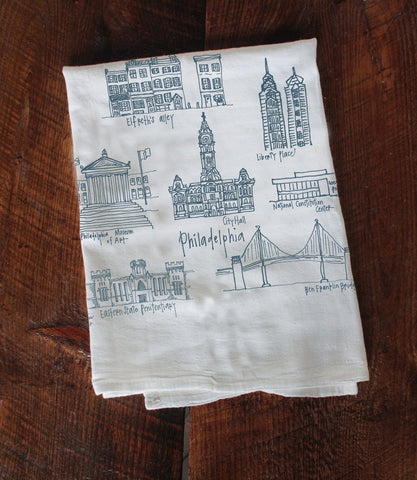 All of Philadelphia's most loved landmarks, from the Ben Franklin Bridge and Elferth's Alley to the Museum of Art and Liberty Place, hand drawn and printed onto durable, absorbent tea towels.