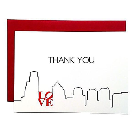 Philadelphia skyline note cards with red LOVE sign. 3.5x5 white fold over cards with red envelopes.
