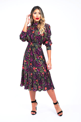 Psychedelic Mod Tailored Dress With Belt