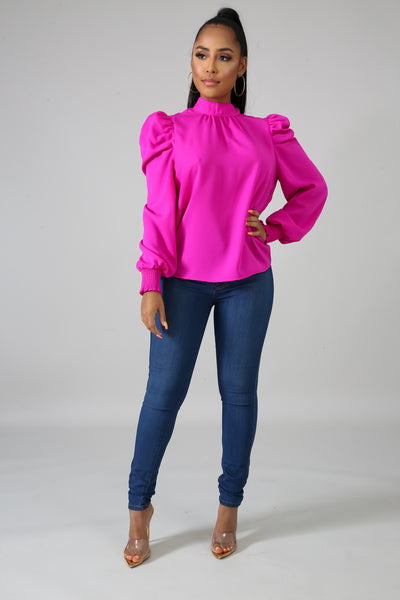 Magenta High Neck Collar Blouse