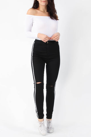 Ripped Knee White Stripe Skinny Jeans