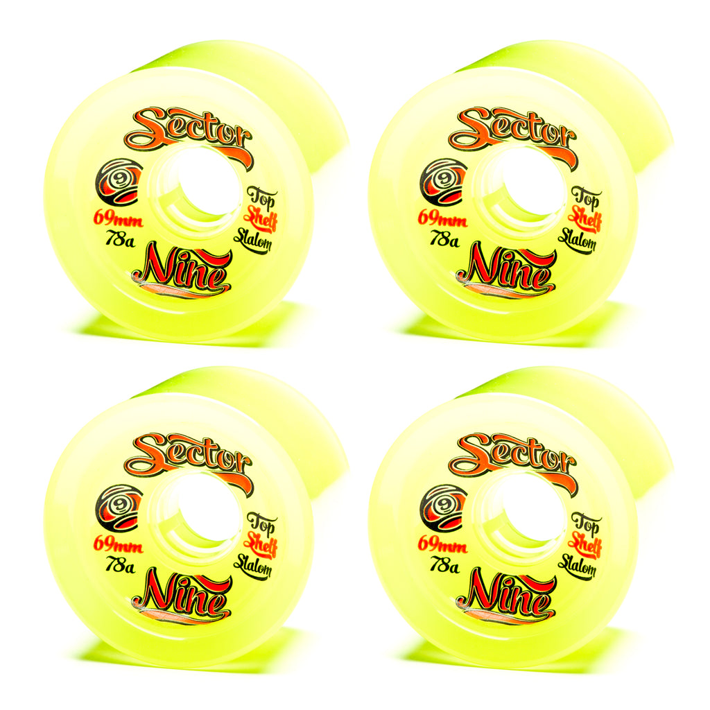 Sector 9 69mm 9-Balls Yellow - Performance Longboarding - FREE SHIPPING!