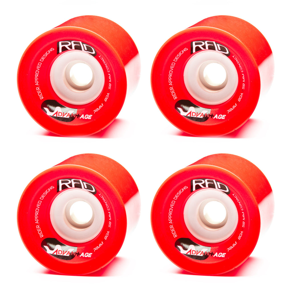 RAD 74mm Advantage 80a Red - Performance Longboarding - FREE SHIPPING!