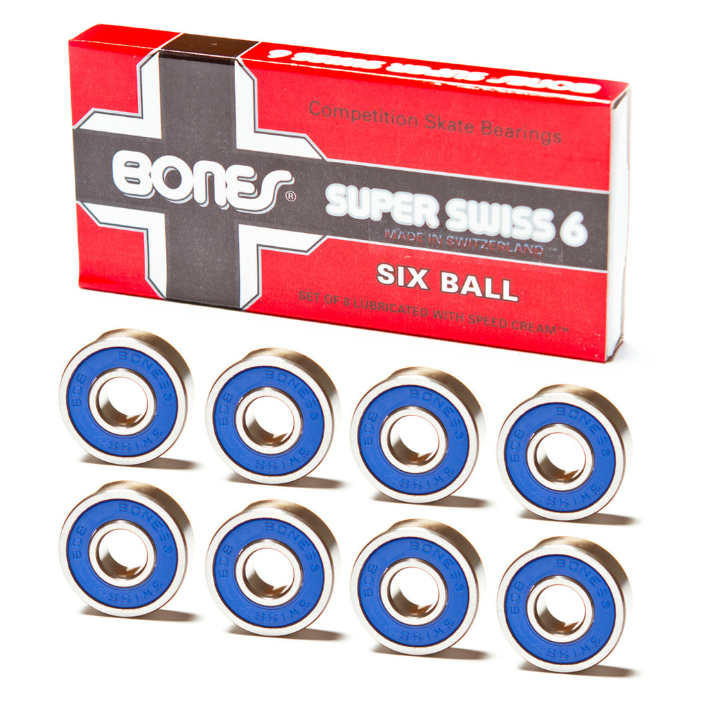 Bones 6-Ball S-Swiss Bearings - Performance Longboarding - FREE SHIPPING!