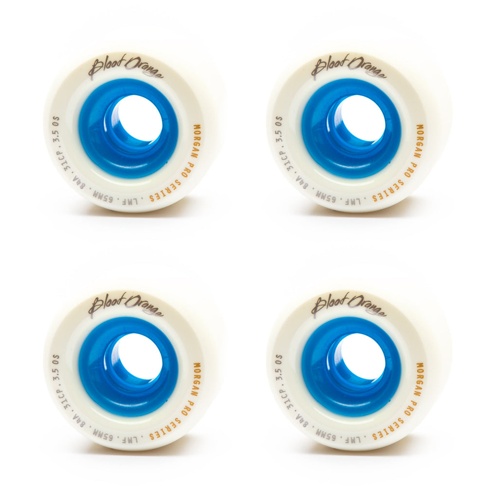 Blood Orange 65mm Morgan 84a White / Blue - Performance Longboarding - FREE SHIPPING!