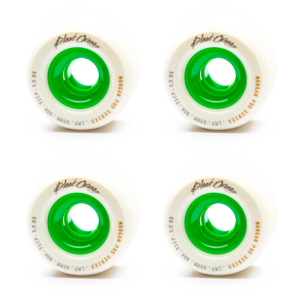 Blood Orange 65mm Morgan 80a White / Green - Performance Longboarding - FREE SHIPPING!