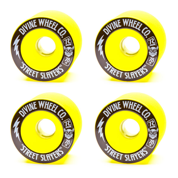 Divine 72mm Street Slayer 78a Yellow - Performance Longboarding - FREE SHIPPING!