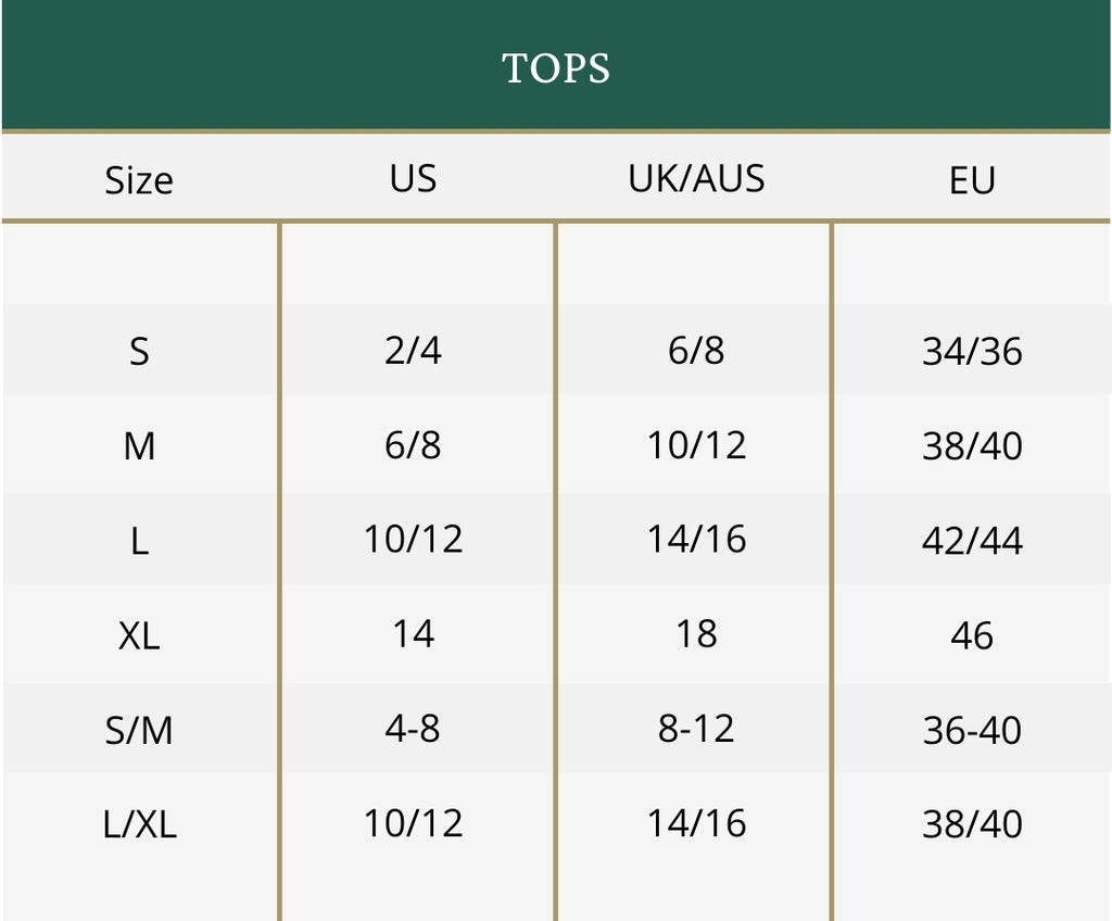 Clothing size guide for tops