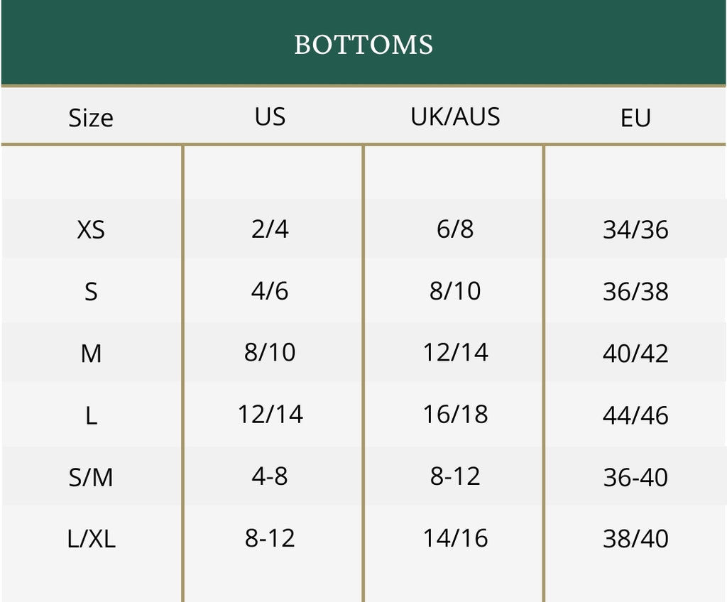 Clothing size guide for bottoms