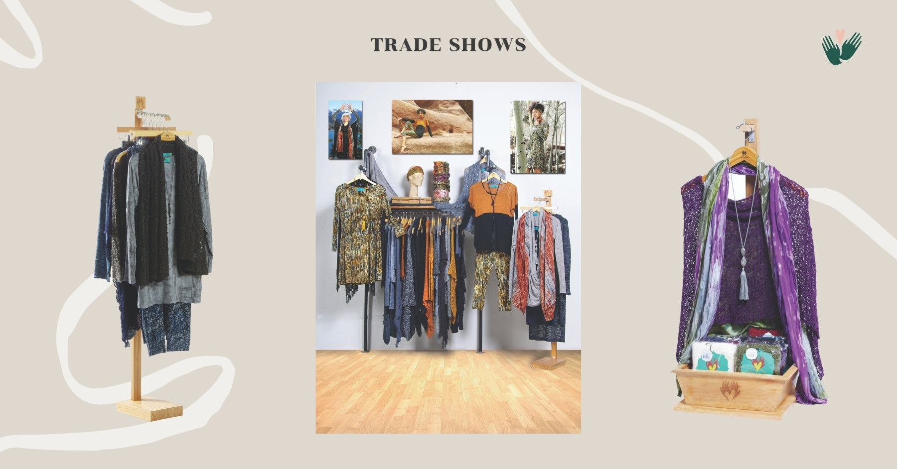 Our clothing presented on nice racks for the trade shows