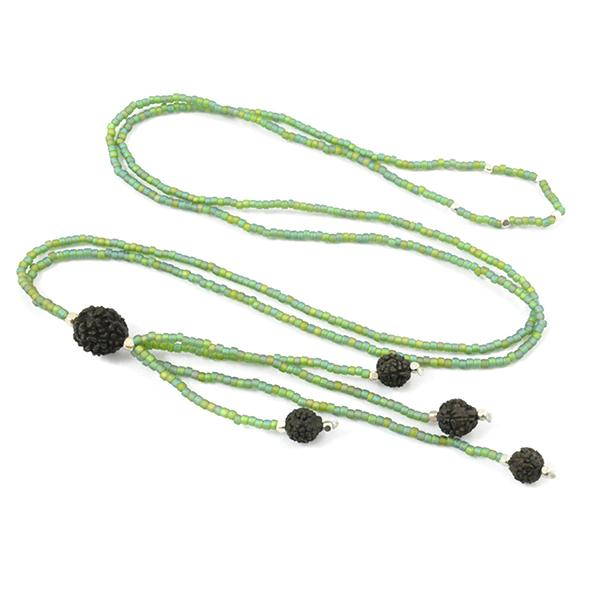 Sage Seed Beads with Silver Bead Accents