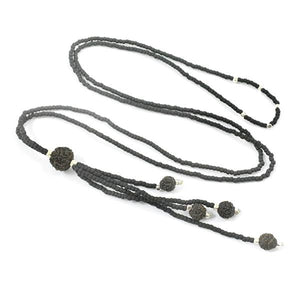 Black Seed Beads with Silver Bead Accents