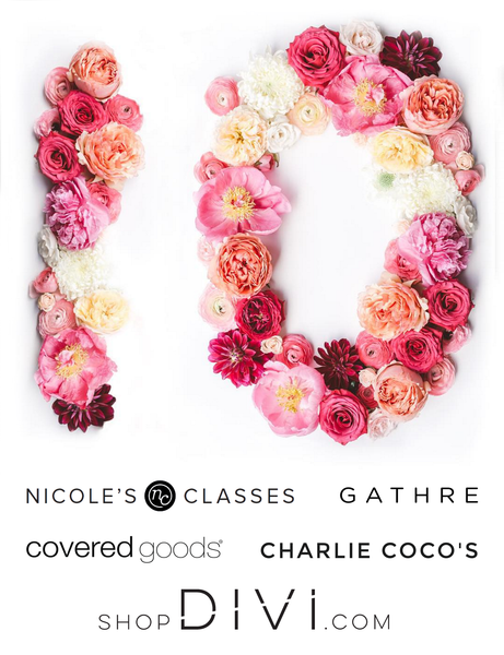 DIVI 10k 1 year giveaway - nicole's classes, gathre, charlie coco's, covered goods