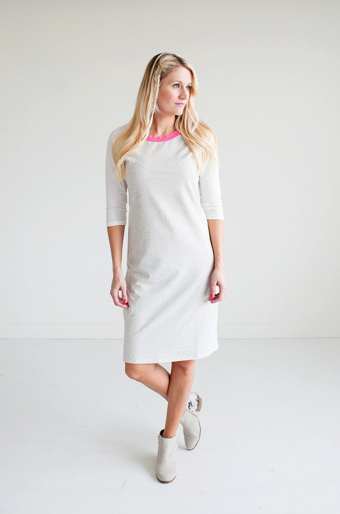 Pink Collar Baseball Dress - DIVI