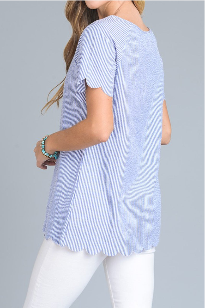 Seersucker Scallop Top - DIVI  (1)