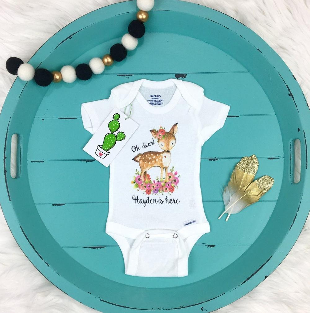 cd5e11ff9 Girl Personalized Name-onesie-Trendy Cactus