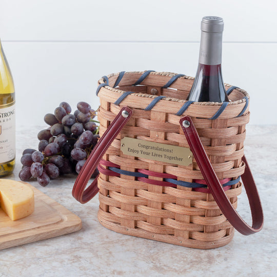 2 Bottle Wine Tote Basket