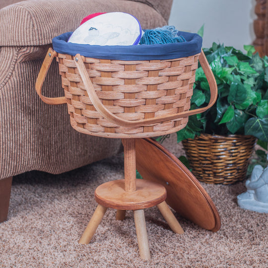 Sewing & Knitting Basket w/Stand