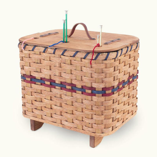 11 Inch Diameter Wicker Basket with Mobile Handle Retail Blue