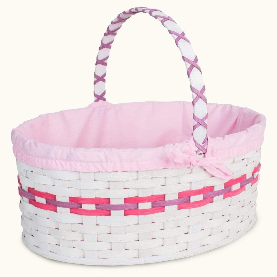 Old-Order Amish Women Amish Hand Sewn Liner for Huge White Wicker Easter Basket Pink