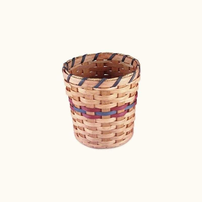 "Gingerich Family Small Wicker Collection or Waste Basket (8"" Tall) Wine & Blue"