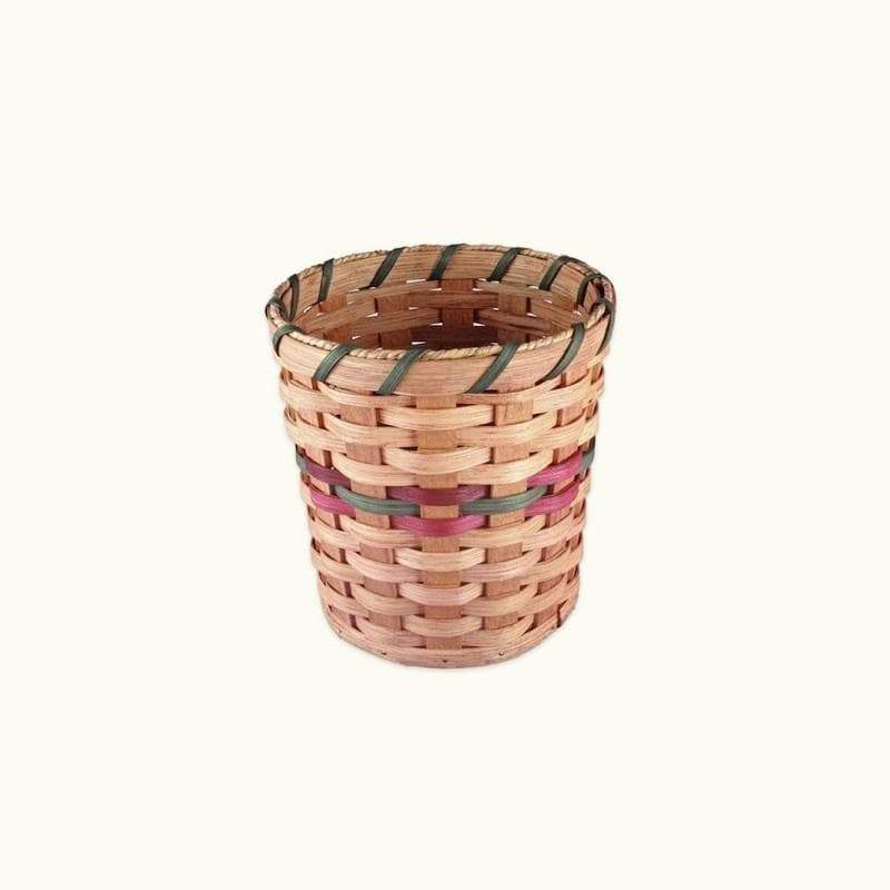 "Gingerich Family Small Wicker Collection or Waste Basket (8"" Tall) Wine & Green"