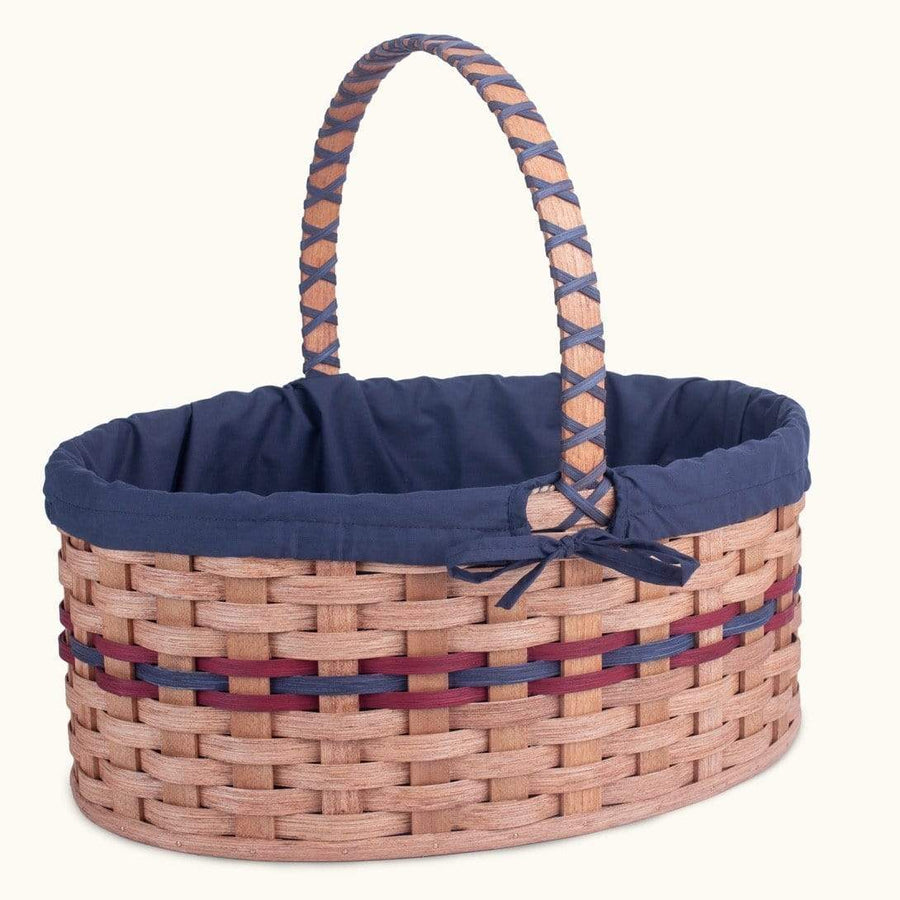 Gingerich Family Biggest Easter Basket | Giant Oval - Amish Woven Wicker Wine & Blue