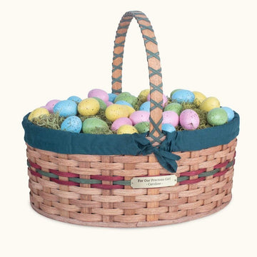 Biggest Easter Basket | Giant Oval - Amish Woven Wicker Wine & Green