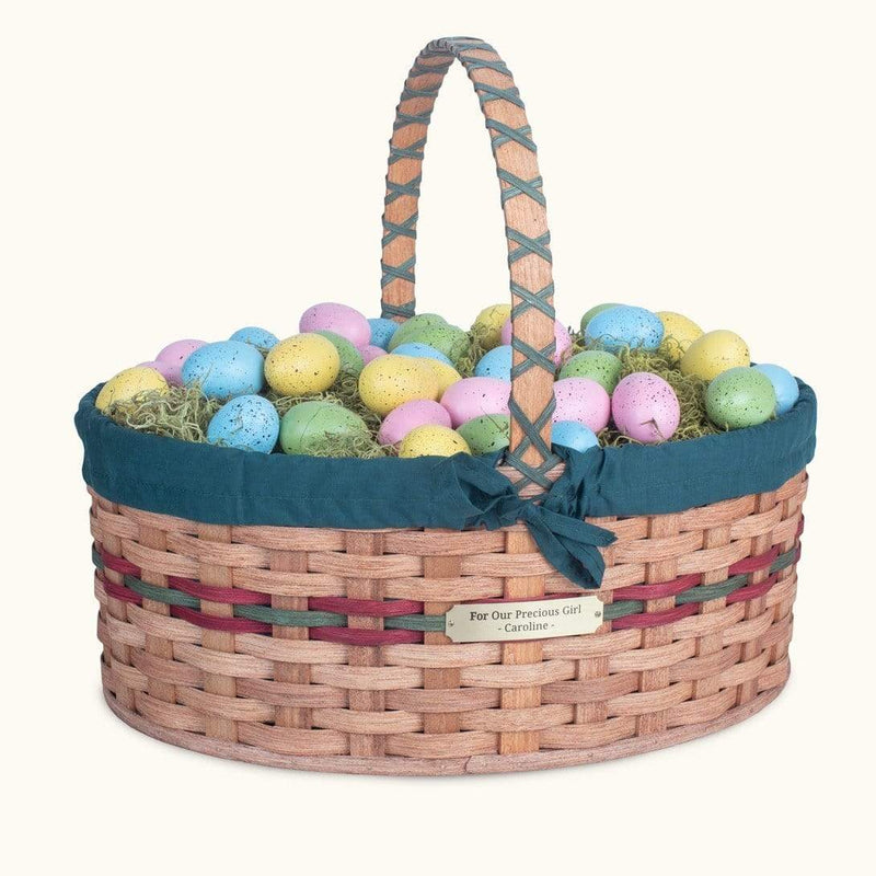 Gingerich Family Biggest Easter Basket | Giant Oval - Amish Woven Wicker Wine & Green