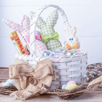 Decorative Easter Basket | Large Oval Farmhouse White - Amish Wicker Matching