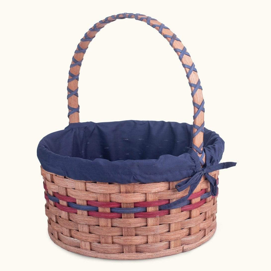 Heirloom Easter Basket | Extra-Large Round - Amish Woven Wicker Wine & Blue