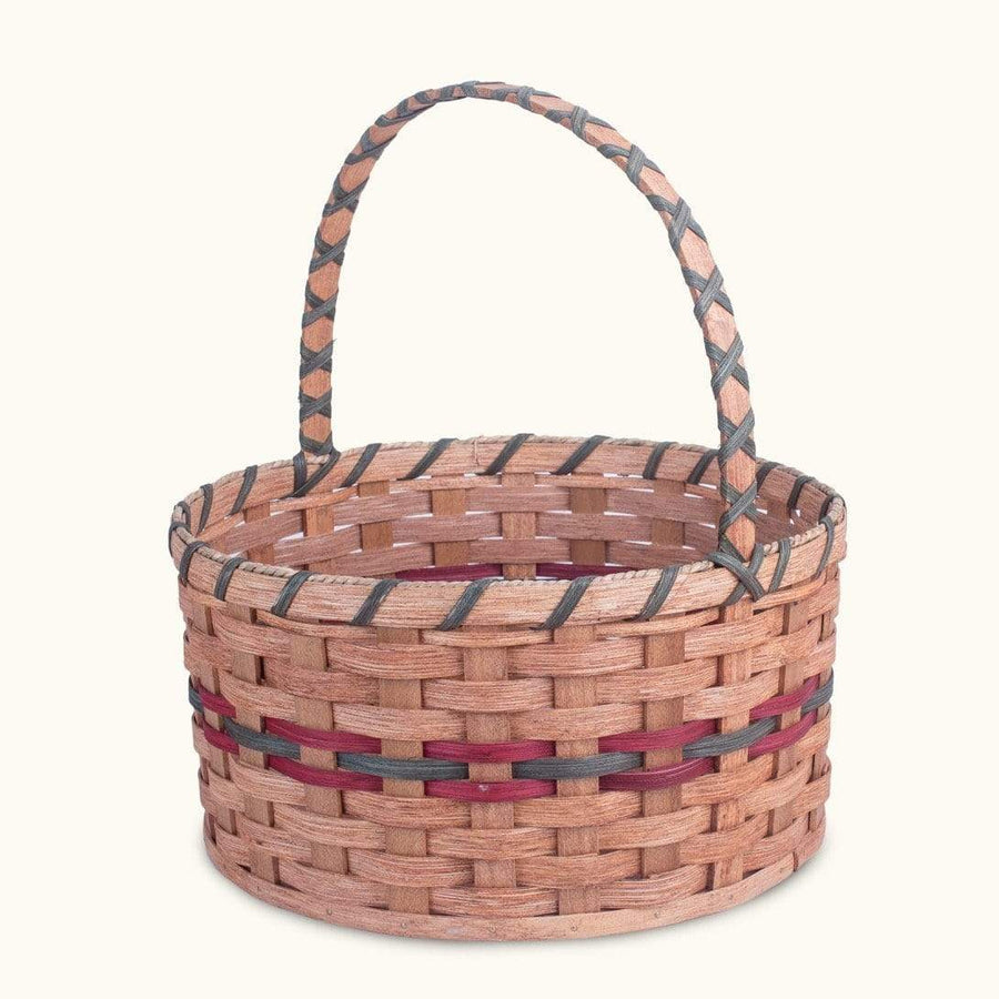 Gingerich Family Heirloom Easter Basket | Extra-Large Round - Amish Woven Wicker Wine & Green