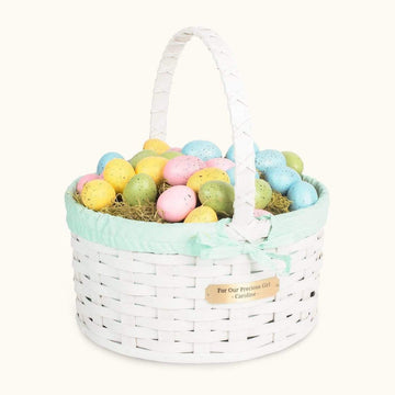 Heirloom Easter Basket | Extra-Large Round Farmhouse White - Amish Wicker Matching