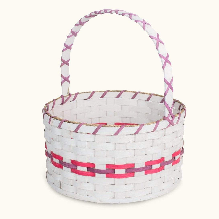 Heirloom Easter Basket | Extra-Large Round Farmhouse White - Amish Wicker Pink & Purple