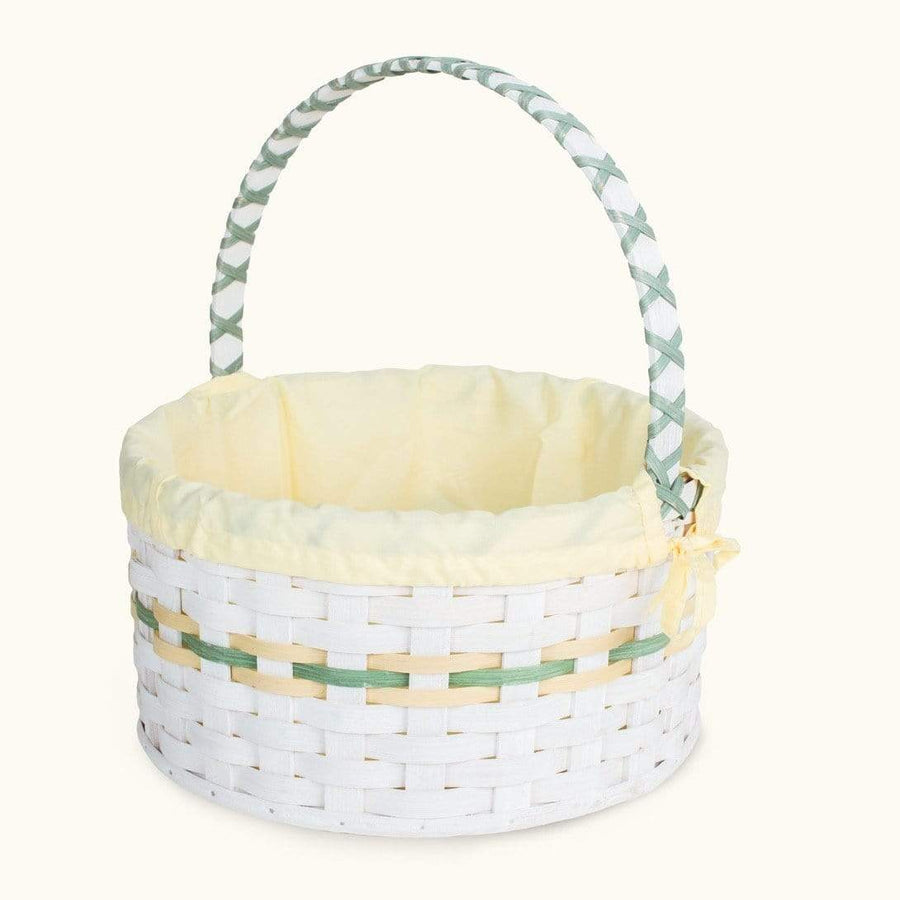 Heirloom Easter Basket | Extra-Large Round Farmhouse White - Amish Wicker Yellow & Green