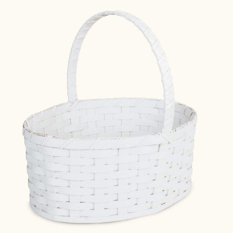 Gingerich Family Oversized Easter Basket | Extra Large Oval Farmhouse White - Amish Wicker Matching