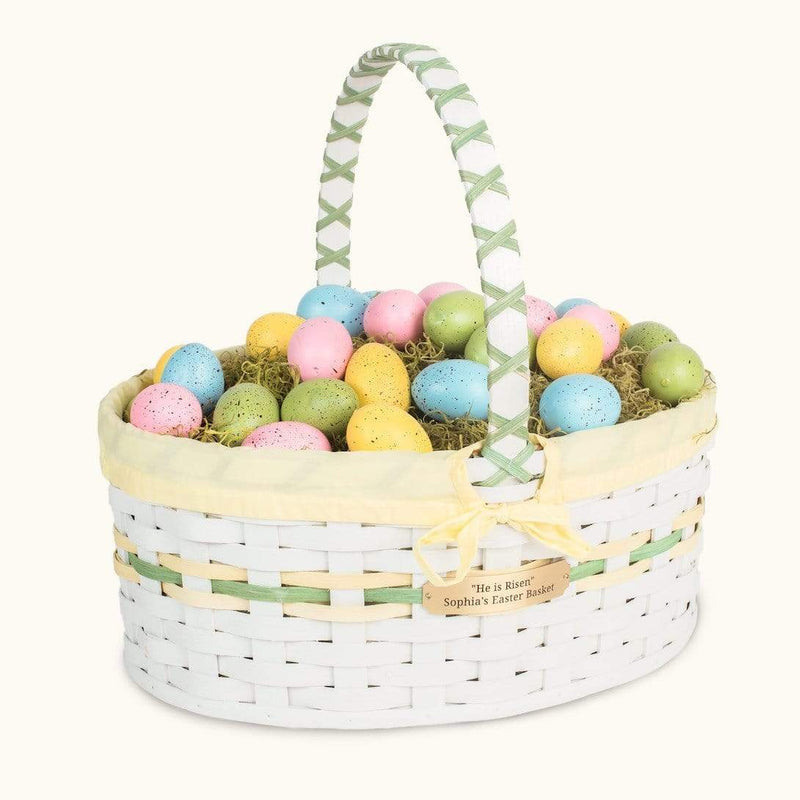 Gingerich Family Oversized Easter Basket | Extra Large Oval Farmhouse White - Amish Wicker Yellow & Green