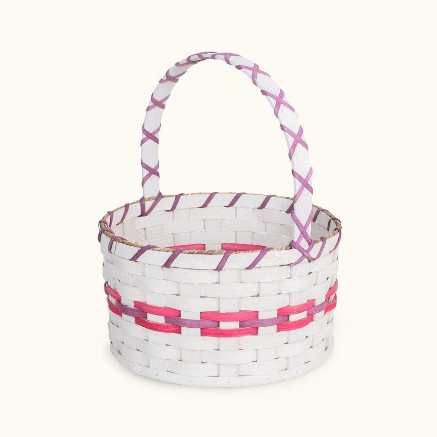 Traditional Easter Basket | Large Round Farmhouse White - Amish Wicker