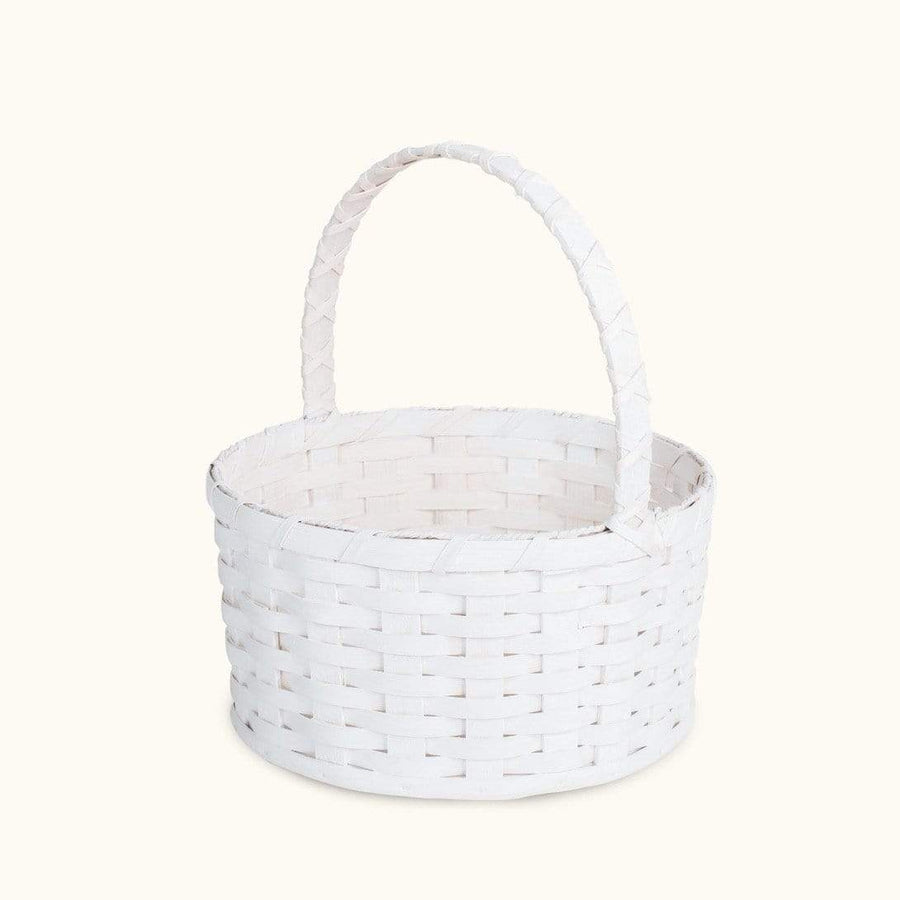 Traditional Easter Basket | Large Round Farmhouse White - Amish Wicker Matching