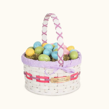 Traditional Easter Basket | Large Round Farmhouse White - Amish Wicker Pink & Purple