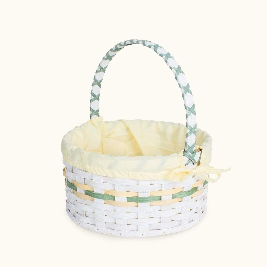 Traditional Easter Basket | Large Round Farmhouse White - Amish Wicker Yellow & Green