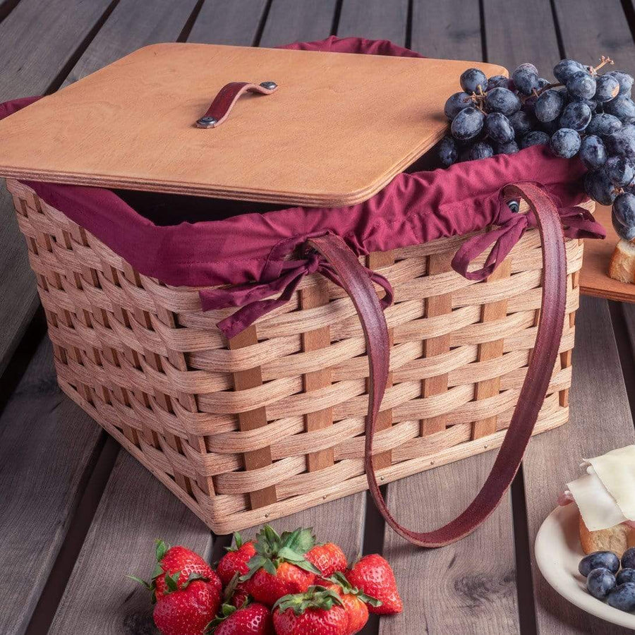 Gingerich Family Medium Picnic & Large Double Pie Carrier | Amish Wicker Basket Matching