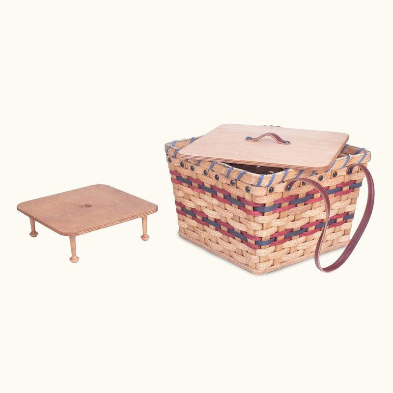 Gingerich Family Medium Picnic & Large Double Pie Carrier | Amish Wicker Basket Wine & Blue