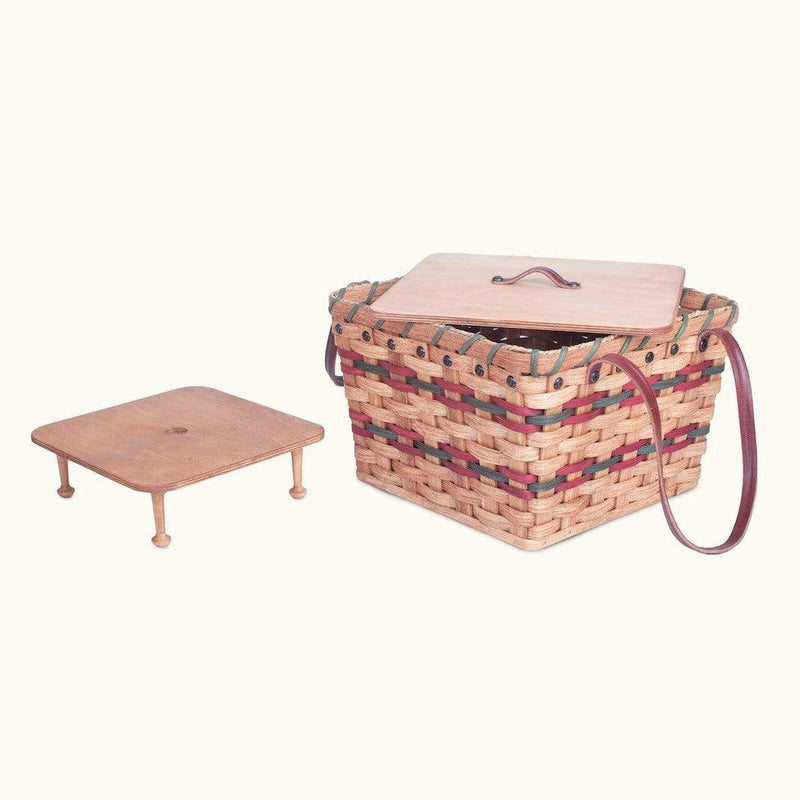 Gingerich Family Medium Picnic & Large Double Pie Carrier | Amish Wicker Basket Wine & Green