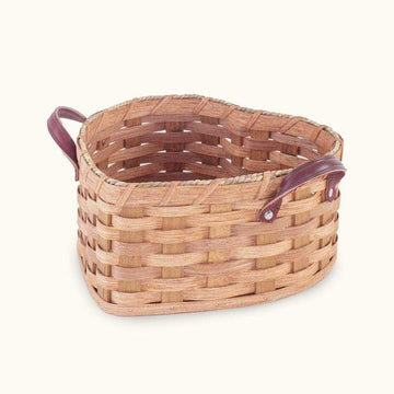 Amish Made Large Heart Basket with Leather Loop Handles - SPECIAL ORDER Matching
