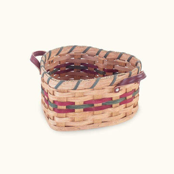 Amish Made Medium Heart Basket with Leather Loop Handles - SPECIAL ORDER Wine & Green