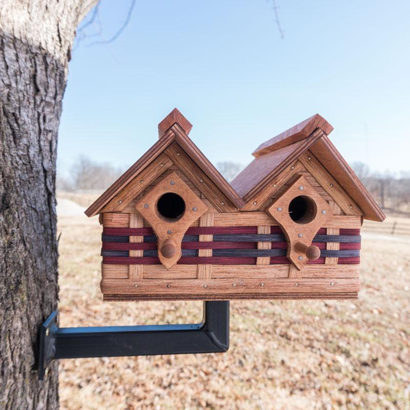 Unique Double Unit Amish Wicker Bird House: Wooden Cottage Design