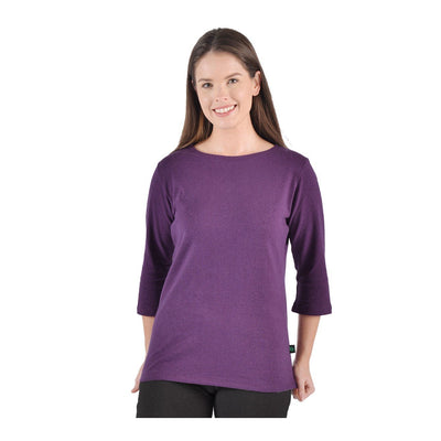 Hemp/Organic Cotton 3/4 Sleeve Boat Neck Top - Naturally Canada