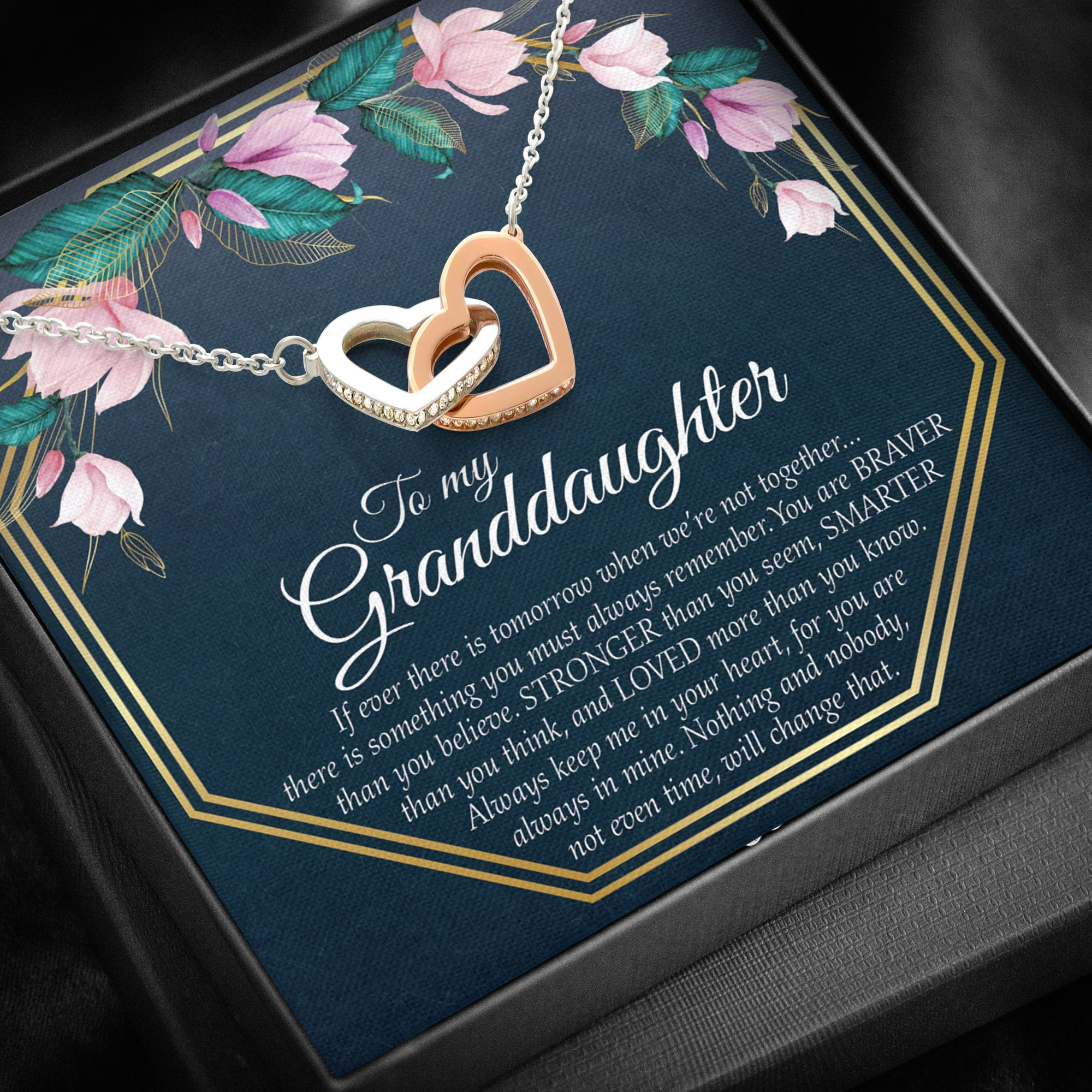 To Granddaughter - Double Heart Necklace